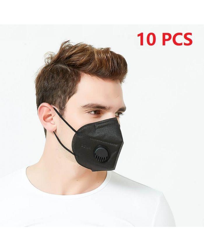 10 PCS Black N95 FFP2 Respirator Face Mask With Breathing ...